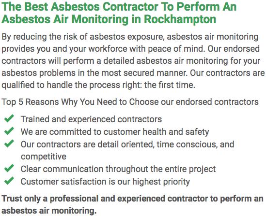 Asbestos Watch Rockhampton - air monitoring left