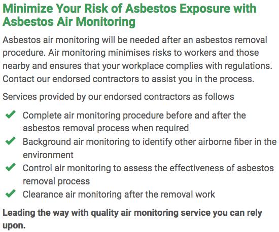 Asbestos Watch Rockhampton - air monitoring right
