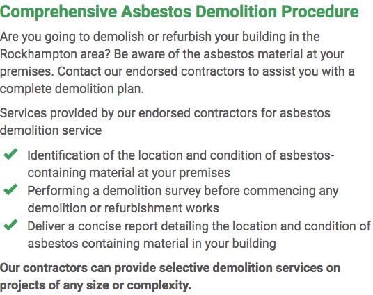 Asbestos Watch Rockhampton - demolition right