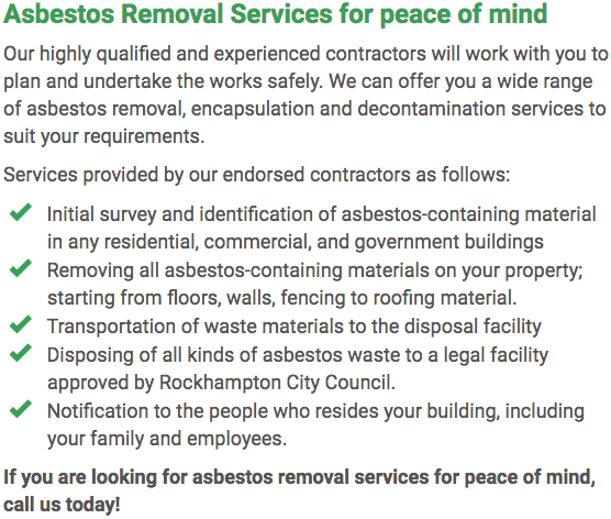 Asbestos Watch Rockhampton - removal right