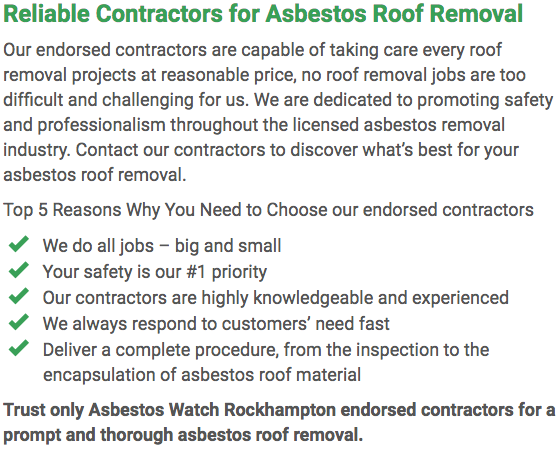 Asbestos Watch Rockhampton - roof removal left