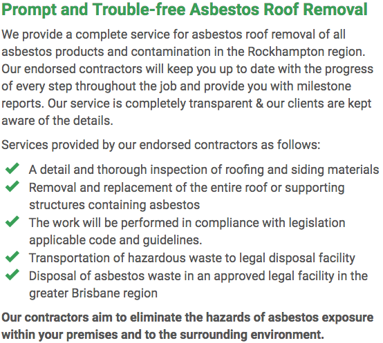 Asbestos Watch Rockhampton - roof removal right